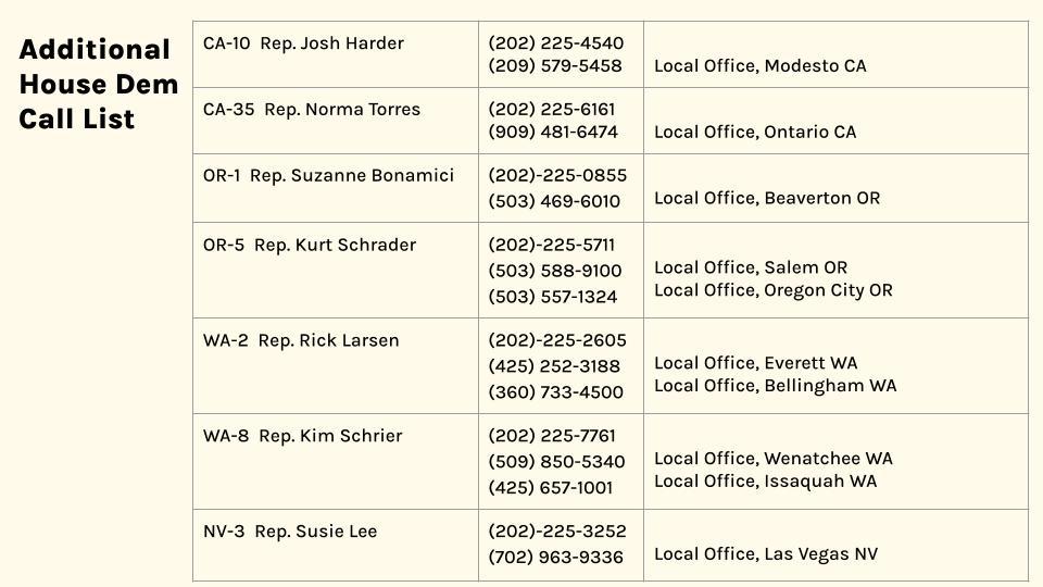 HR 40 Additional Calls to Make